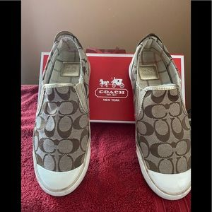 Authentic Coach gold leather and fabric slip ons!